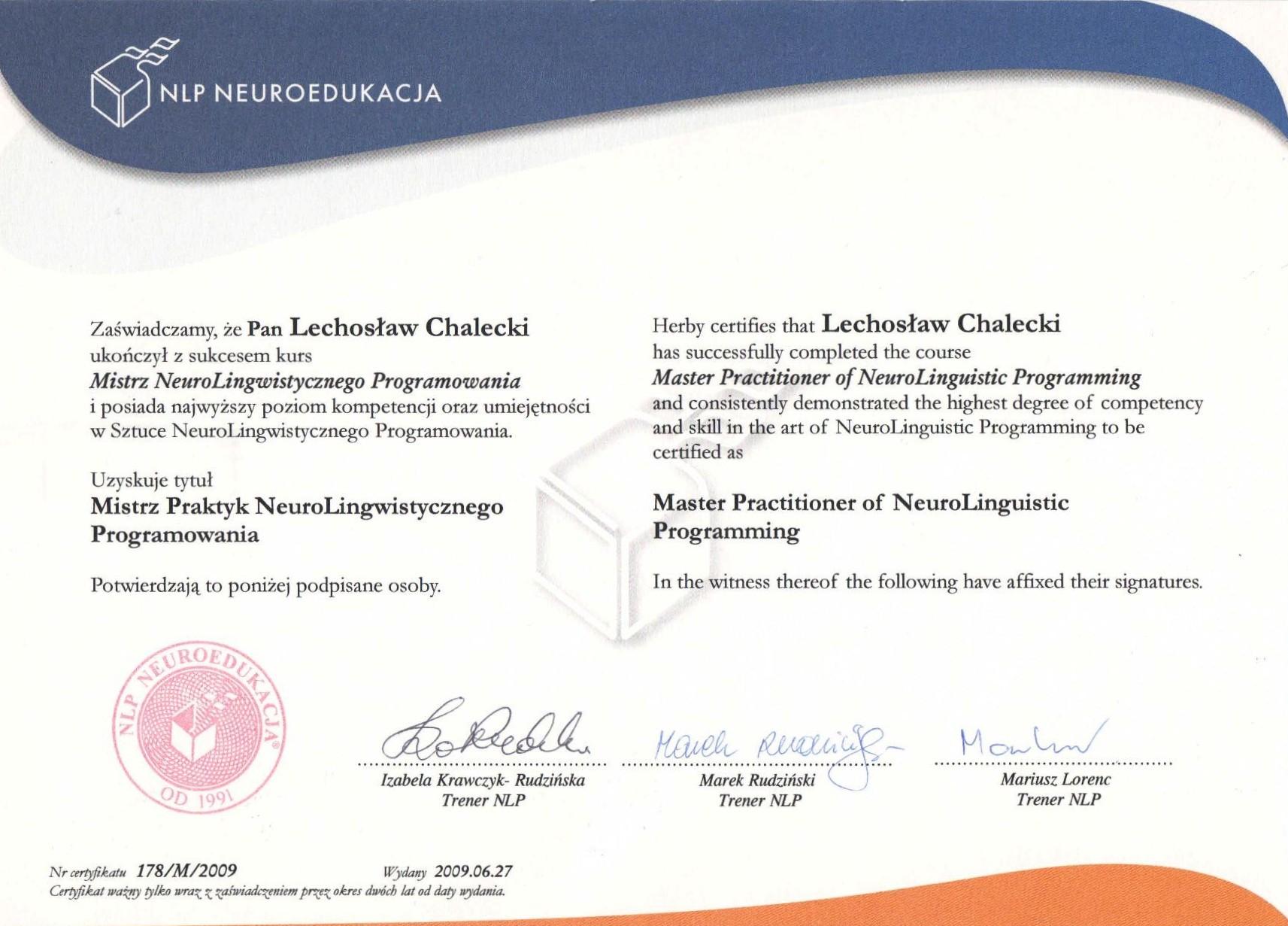 Certyfikat Neurolingwistyczne Programowanie-mistrz