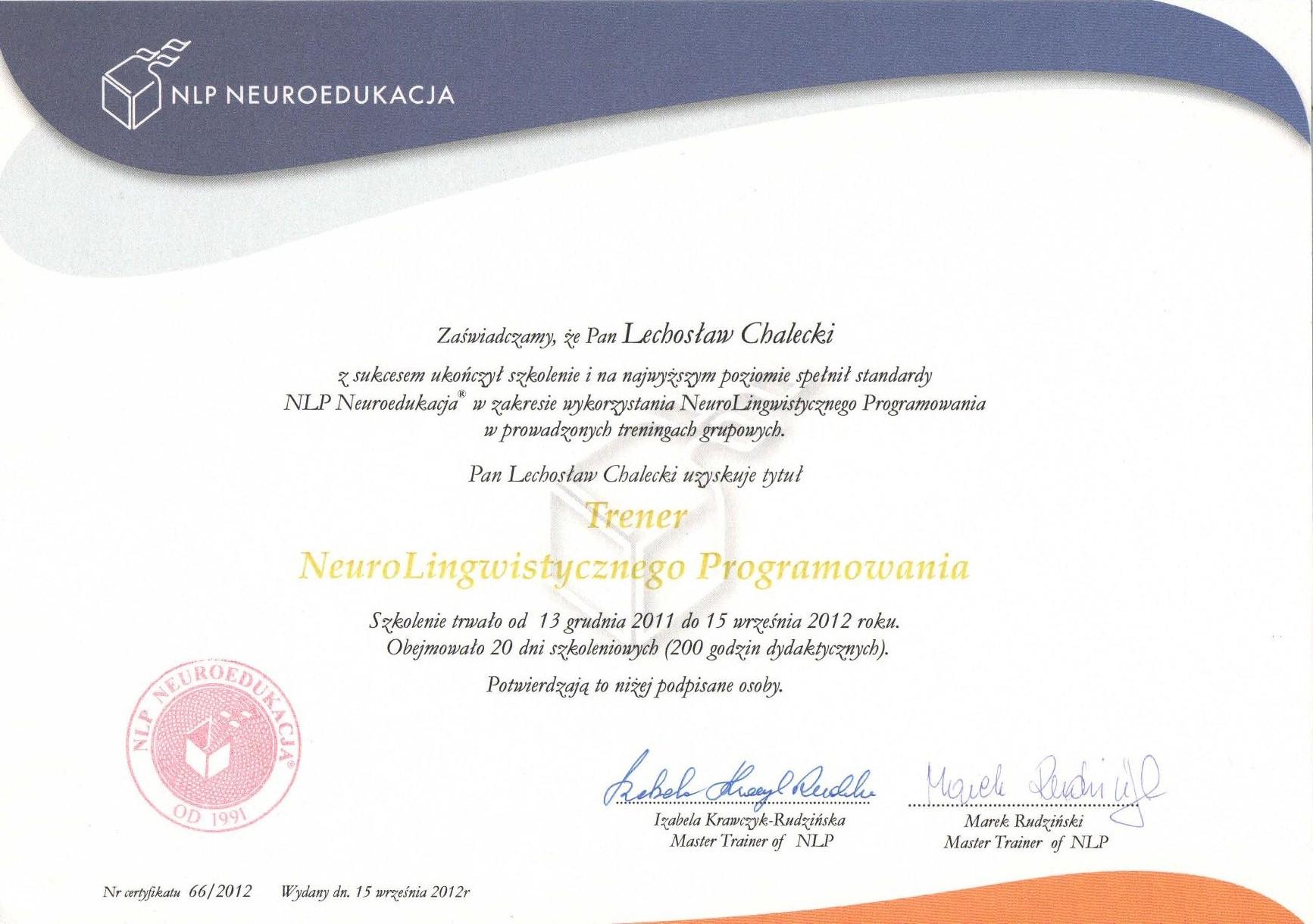 Certyfikat Neurolingwistyczne Programowanie – Trener