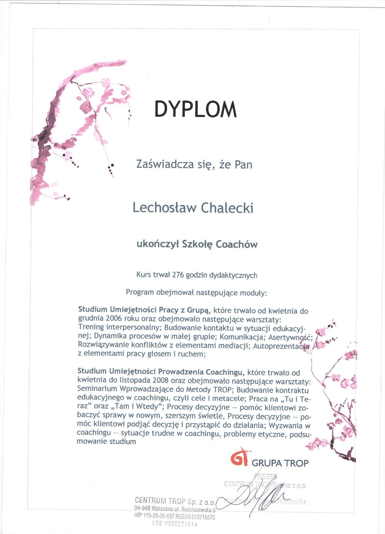 Certyfikat Szkoła Coachów