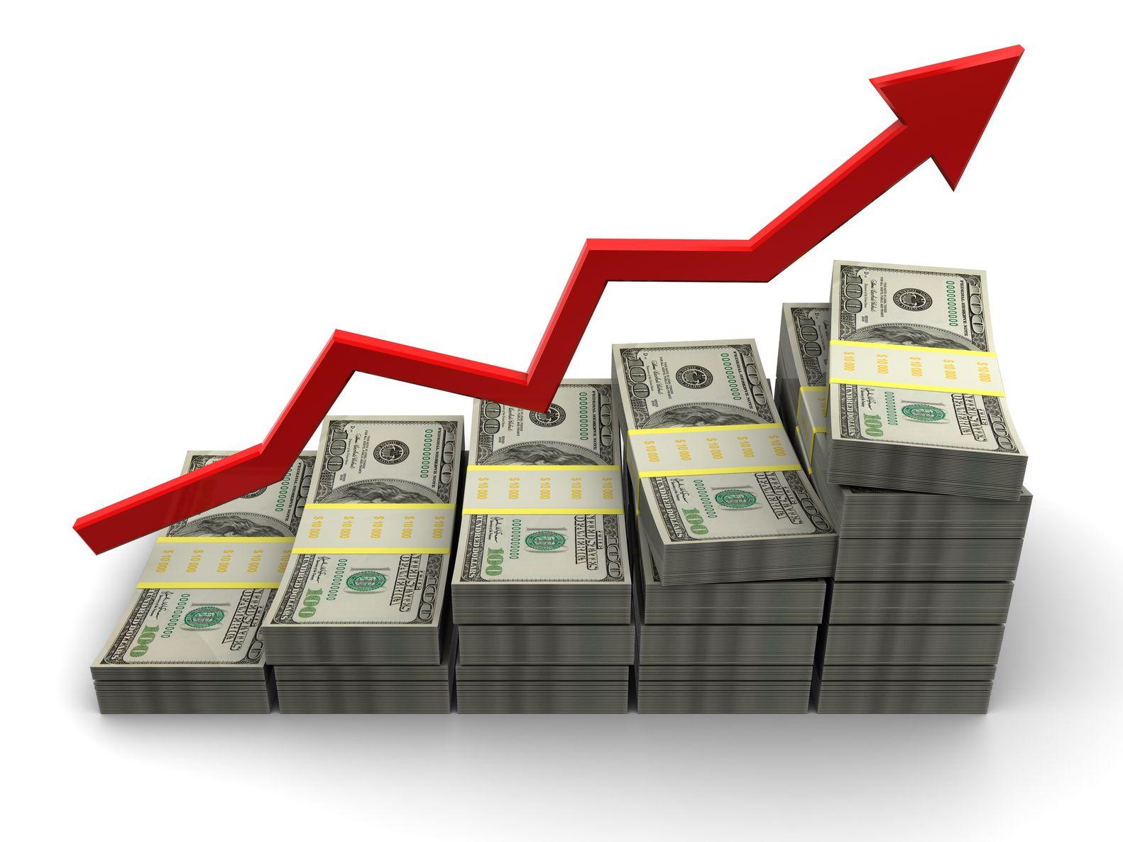 9518854 - 3d illustration of rising money charts, business success concept
